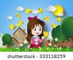 cute girl sitting in a flower... | Shutterstock .eps vector #333118259