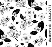 black and white jasmine vector... | Shutterstock .eps vector #333160175