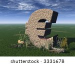 Euro Sign On A Green Field   3d ...