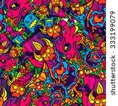 60s hippie psychedelic art... | Shutterstock .eps vector #333199079