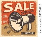 vintage sale poster on a grange ... | Shutterstock .eps vector #333234215
