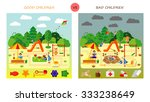 kids playing on playground.... | Shutterstock .eps vector #333238649