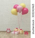 clock  colorful ballons and... | Shutterstock . vector #333242465