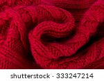 Red Knitted Scarf Close Up...