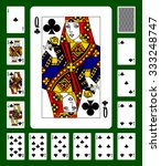 Playing Cards Of Clubs Suit An...