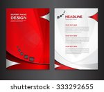 red annual report design vector ... | Shutterstock .eps vector #333292655