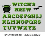witch's brew alphabet with... | Shutterstock .eps vector #333333029