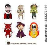 set of 6 infernal characters...   Shutterstock .eps vector #333373499