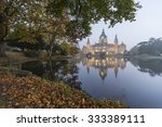 Stock photo new city hall of hannover germany at foggy autumn morning 333389111