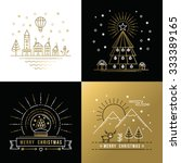 merry christmas golden outline... | Shutterstock .eps vector #333389165