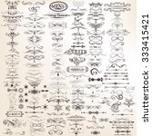 Mega set or collection of vector calligraphic decorative elements for design