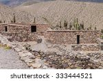Ruins of pre-Columbian fortification Pucara near Tilcara village in Quebrada de Humahuaca valley, Argentina