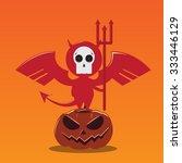 vector devils on pumpkin stand | Shutterstock .eps vector #333446129