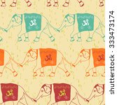 elephants with om   religious... | Shutterstock .eps vector #333473174