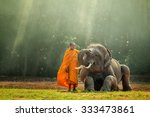 monk and baby elephant   | Shutterstock . vector #333473861