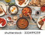 country dinner tabletop with... | Shutterstock . vector #333499259