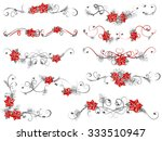 christmas flower borders with... | Shutterstock .eps vector #333510947