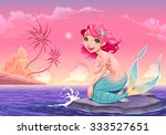 young mermaid near the shore.... | Shutterstock .eps vector #333527651