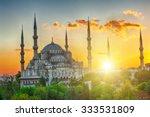 Blue Mosque At Beautiful Sunse...