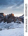 Small photo of Morning Alpenglow view from Lagazuoi mountain refuge, Dolomites, Italy