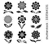 dahlia  aster  daisy  chamomile ... | Shutterstock .eps vector #333564131