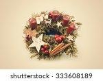 vintage christmas wreath   Shutterstock . vector #333608189