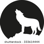 howling wolf in front of the... | Shutterstock .eps vector #333614444