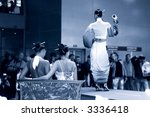 Fashion show. Girls in japanese dress. Blue tint. - stock photo