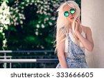 beautiful girl in sunglasses... | Shutterstock . vector #333666605