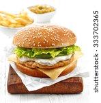 Fresh Chicken Burger On Wooden...