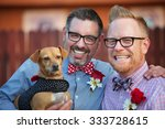 cheerful married gay couple... | Shutterstock . vector #333728615