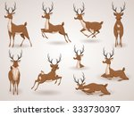 reindeer christmas icon set.... | Shutterstock .eps vector #333730307