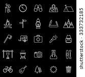 trekking line icons on black... | Shutterstock .eps vector #333732185