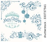 christmas ornate elements with... | Shutterstock .eps vector #333737561