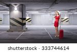 young woman in red dress with... | Shutterstock . vector #333744614
