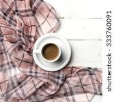 coffee and scarf background on...   Shutterstock . vector #333760091