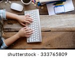 above view of hands of female... | Shutterstock . vector #333765809