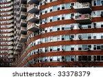 Brick stone multi-storey building in New York City - stock photo