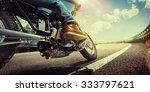 biker riding on a motorcycle.... | Shutterstock . vector #333797621