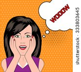 surprised woman with wow speech ... | Shutterstock .eps vector #333803645