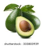 3 Avocado Cut Half Seed Leaves...