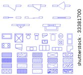 Complete set of blueprint icons and symbols used by architects and designers in the production of plans and documents. - stock vector