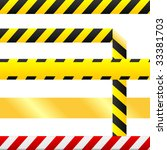 Caution or cuidado warning tape.  Tape is blank so custom text can be inserted.  Tape is seamless, and one version includes a corner so that it may be used as a a border or any other design element. - stock vector