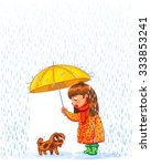 the girl under an umbrella with ...   Shutterstock .eps vector #333853241