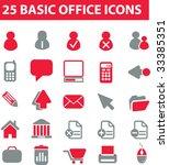 25 basic office icons. red... | Shutterstock .eps vector #33385351