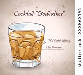 alcoholic cocktail godfather... | Shutterstock .eps vector #333863195