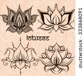 Stock vector set of illustration decorative lotuses 333868091