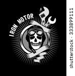 vector emblem human skull... | Shutterstock .eps vector #333899111