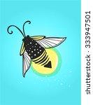 hand drawn cute cartoon firefly ... | Shutterstock .eps vector #333947501
