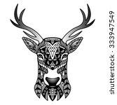 fantasy black deer. vector... | Shutterstock .eps vector #333947549